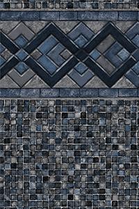 Latham Diamond Bordered Liner Cobalt Lake with Grey Mosaic