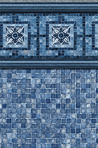 Latham Diamond Bordered Liner Vintage Mosaic with Blue Mosaic