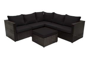 Three-Piece Wicker Sectional Black