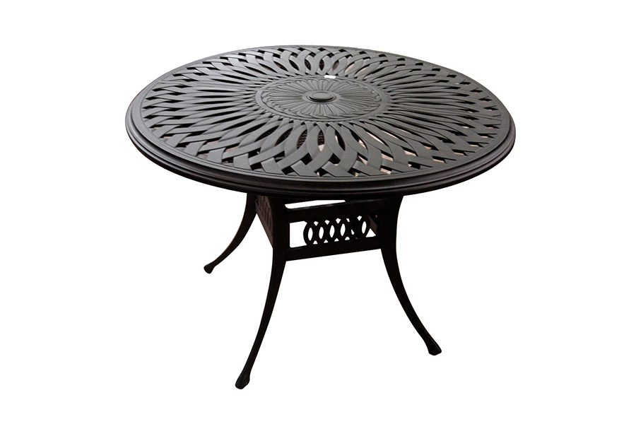 "60"" Round Cast Aluminum Outdoor Dining Table"