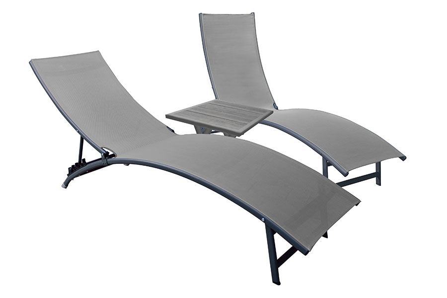 Chaise Lounge Set with Side Table