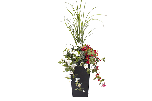 40″ DRACONIAN PLANTER RED AND WHITE FLOWERS