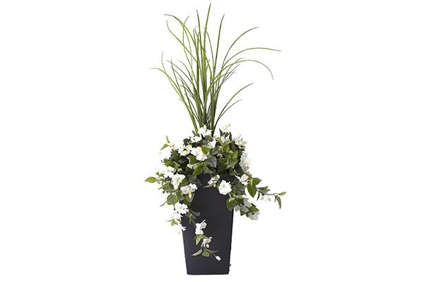 40″ DRACONIAN PLANTER WHITE FLOWERS