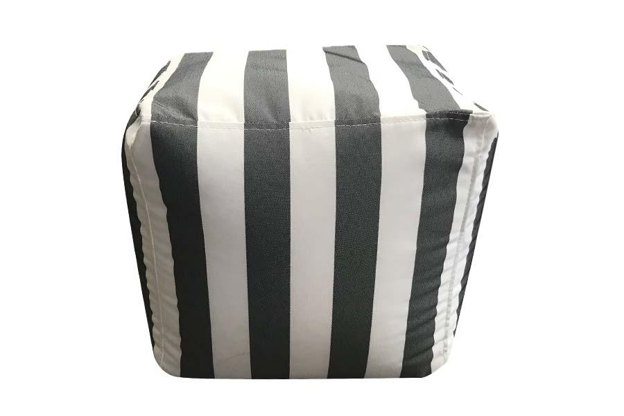 Modish Square Ottoman Dark Grey Stripe