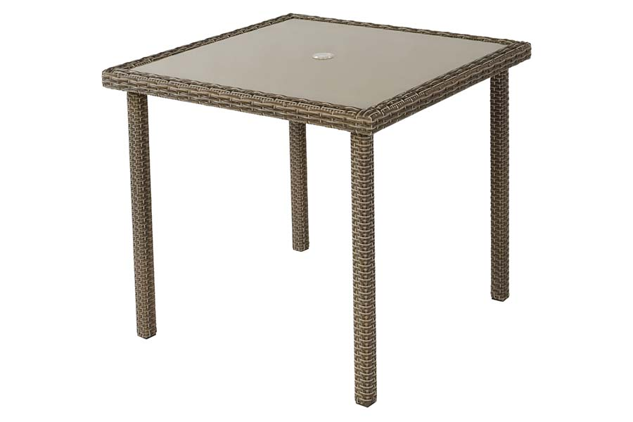 36″ Square Glass Side Table Taupe