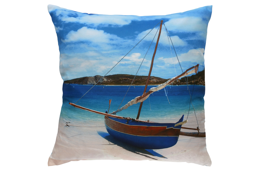 printed sailboat pillow