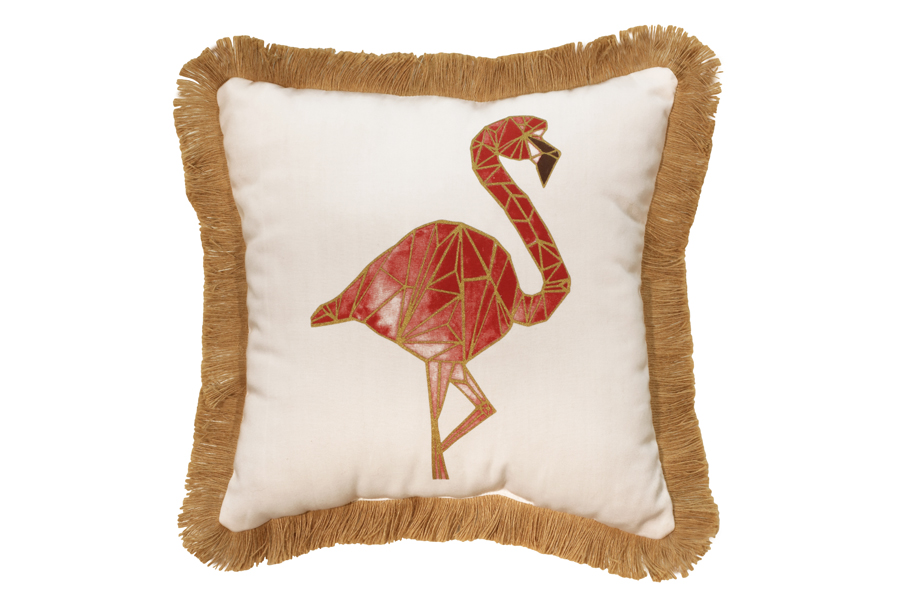 Square Pink Flamingo Pillow