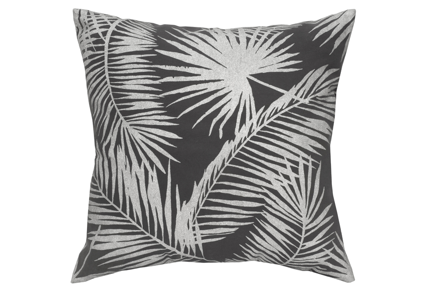 Square Silver Palm Leaf Pillow