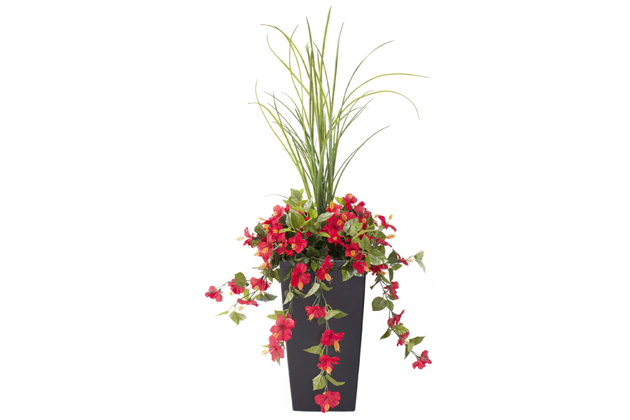 """3' 3"""" Outdoor Planter Red Bougainvilleas"""