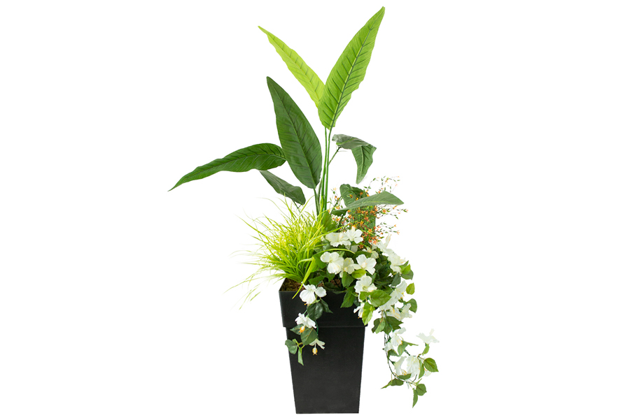 """5' 3"""" Outdoor Planter Sm Yellow Flowers With Birds Of Paradise"""