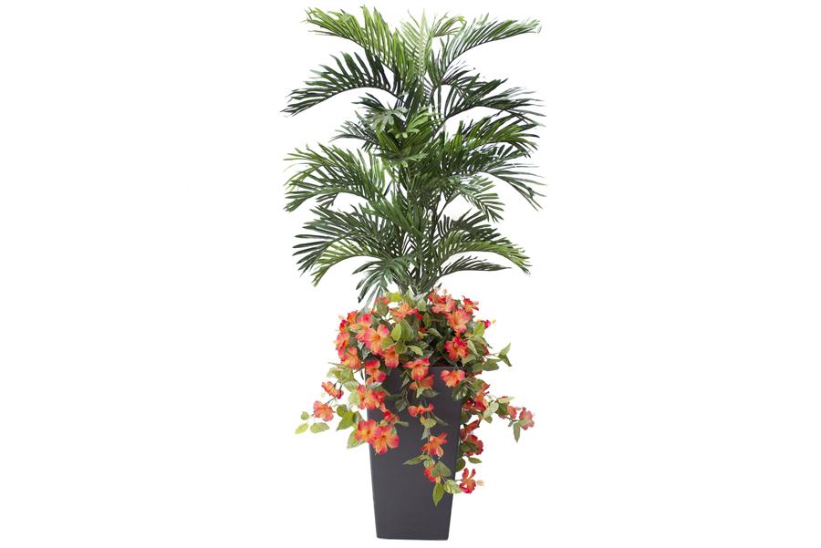 5' Outdoor Planter Orange Hibiscus With Palm