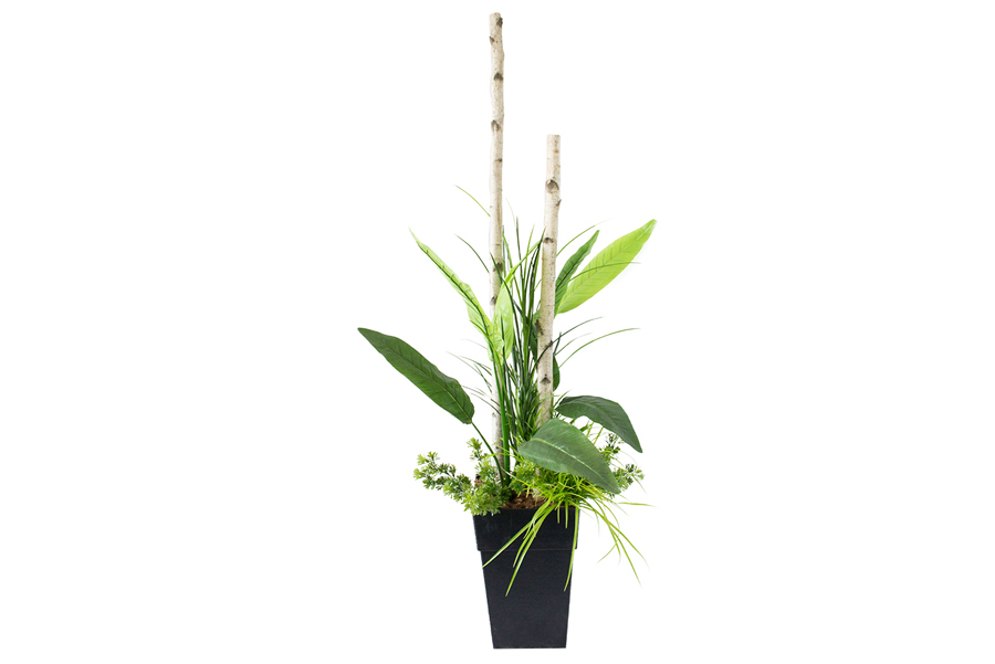 6' 3 Outdoor Planter Birch Branch With Birds Of Paradise