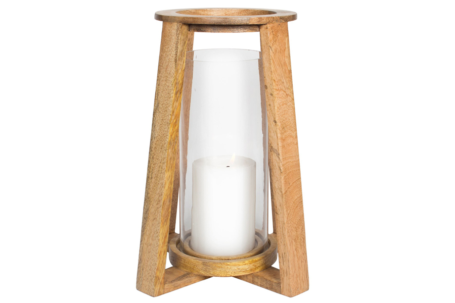 "9"" x 19"" Wood Lantern Glass"