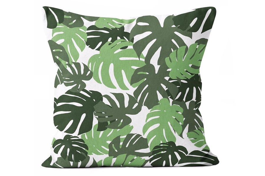"""The Urban Oasis Tropical Ferns Square Pillow brings a lush, tropical energy to your outdoor dining/deep seating area. This square pillow measures 24"""" x 24""""."""