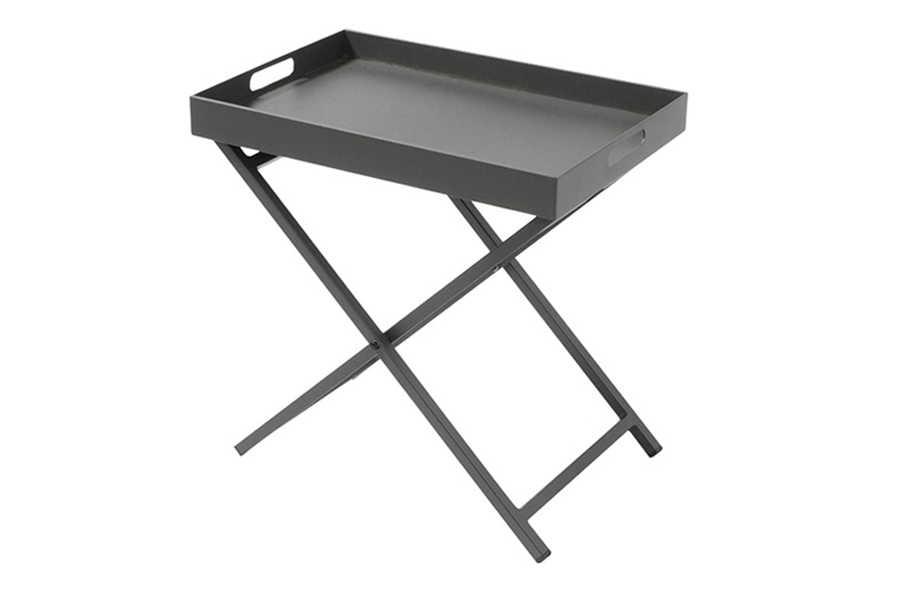Side Table With Removable Tray Anthracite Grey